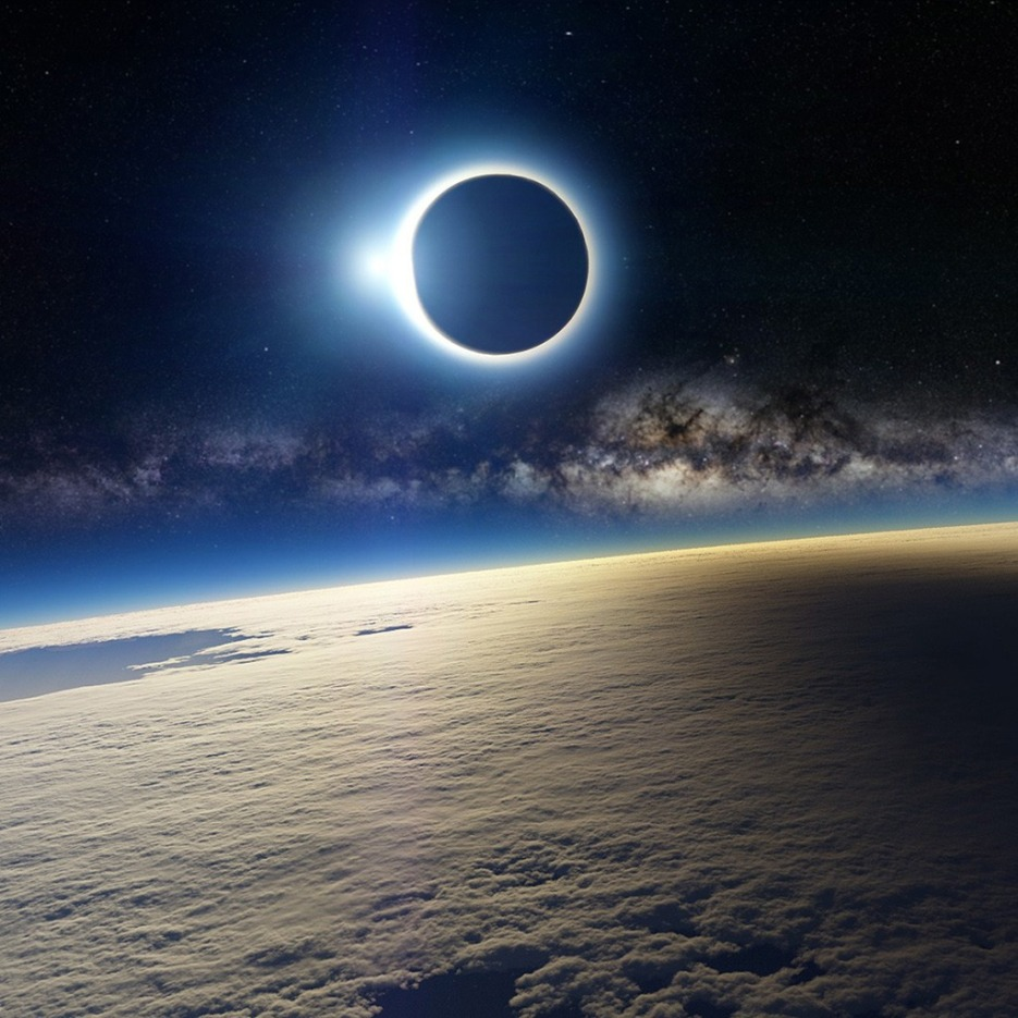 Solar eclipse, as seen from Earth's orbit